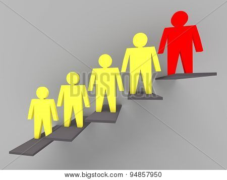 Individuality And Leadership 3D Concept