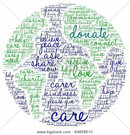 Donate World Shaped Word Cloud