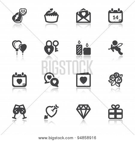 Valentines Day Flat Icons With Reflection