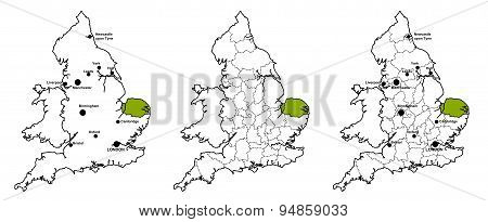 Norfolk located on map of England
