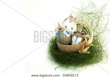 Easter Eggs In Decorative Basket