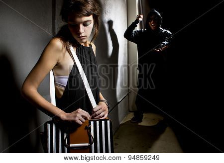 Criminal Stalking Woman in an Alley