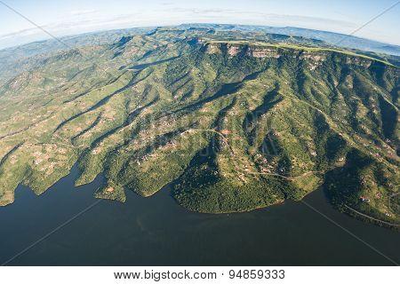 Aerial Flying Dam Landscape