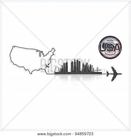 United States Of America Skyline Buildings Silhouette Background