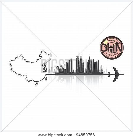 China Skyline Buildings Silhouette Background