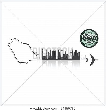 Saudi Arabia Skyline Buildings Silhouette Background
