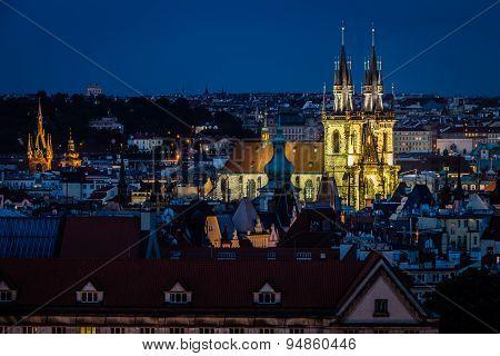 Prague view in night