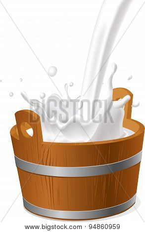 Wooden Pail With Milk Pour Isolated On White - Vector Illustration