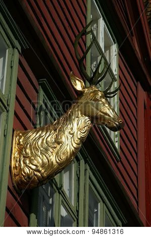 Head of a stag in gold on the wall