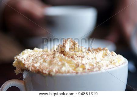 Big cream foam on coffee