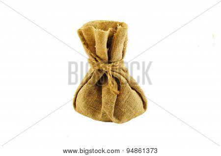 Burlap Bag With Coins