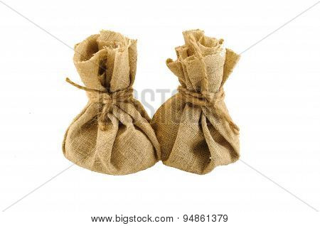 Two Burlap Bag With Coins
