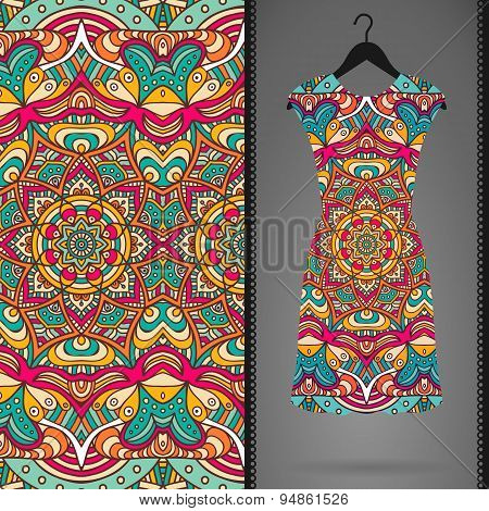 Ethnic floral seamless pattern with dress