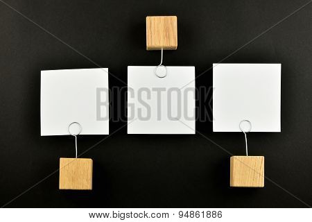 Opposite Opinion, Three Paper Notes On Black Background For Presentation