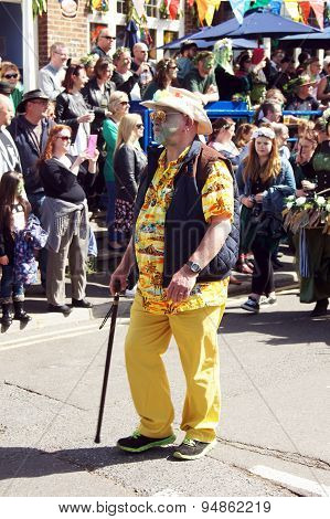 Man in costume marching in parade
