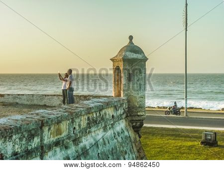 Couple Taking A Selfie In Cartagena Colombia
