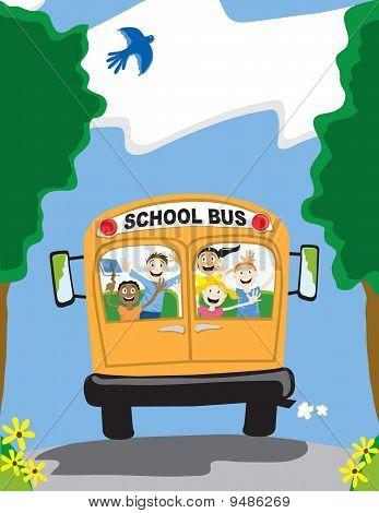 Happy kids on a school bus