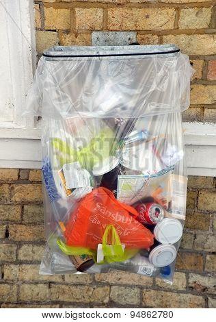Transparent rubbish bag