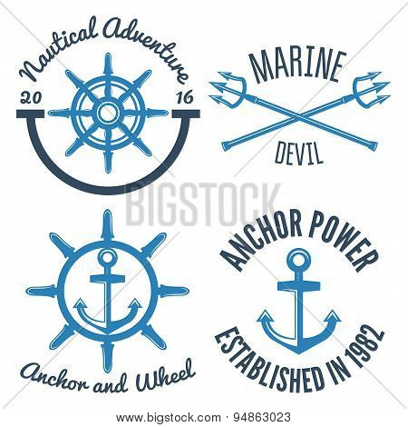 Set of retro vintage nautical labels and badges logo templates.
