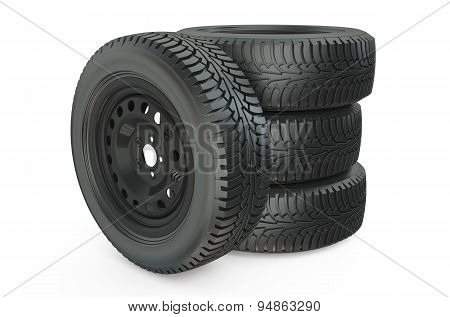 Four Car Wheel On White Background