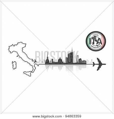 Italy Skyline Buildings Silhouette Background