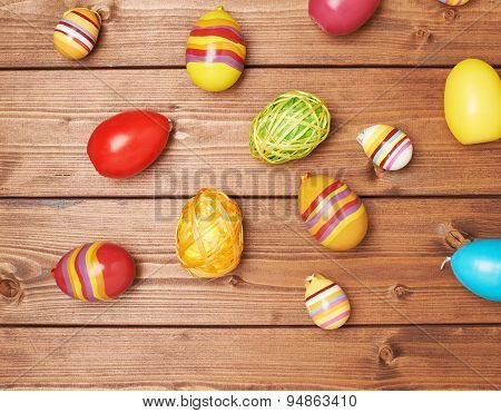 Multiple Easter egg decorations composition