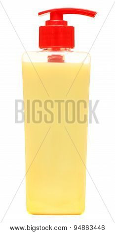 Plastic Bottles With Shampoo, Liquid Soap, Shower Gel. Isolated on a white background