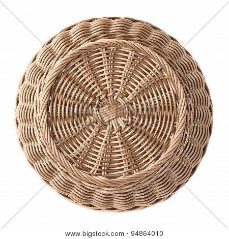 Empty fruit wicker basket bowl isolated