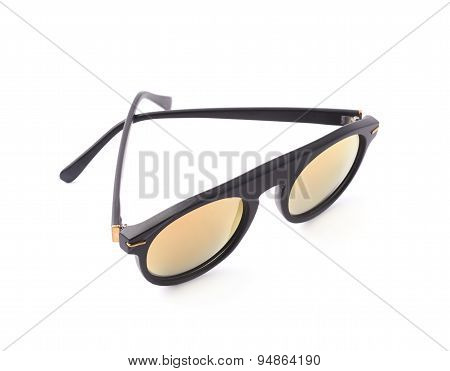 Hip yellow glasses in a black frame