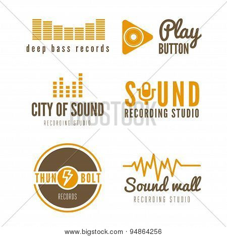 Set of logo, badge,label, sticker, emblem, print and logotype elements for recording studio or sound