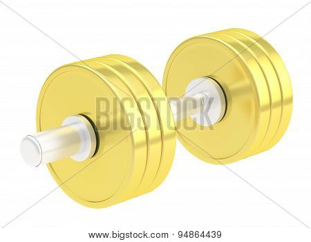 Adjustable golden dumbbell isolated