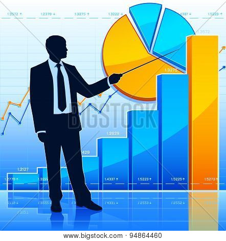 Businessman with financial diagrams