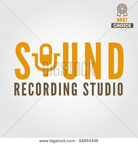 Logo, badge,label, sticker, emblem, print and logotype elements for recording studio or sound produc