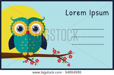 Vector Card With Flat Owl.