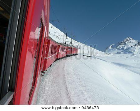 Train approaching the Bernina Pass
