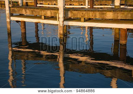 Sunset On Boat Dock Slip