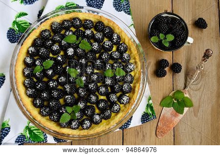 Tart With Cream And Blackberries