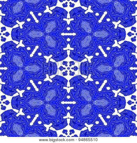 Abstract White Snow Flake Pattern On The Blue Background Made Seamless