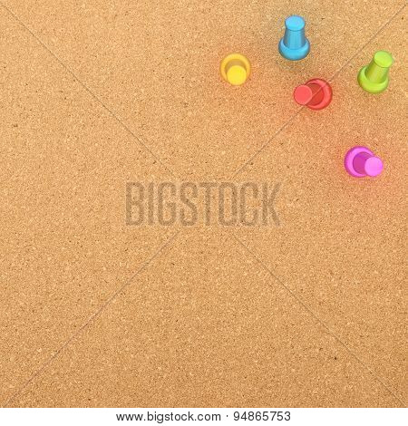 Cork board with five pins in the corner