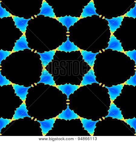 Seamless Abstract Fractal Black Shapes On The Blue Background With Small Yellow Flames