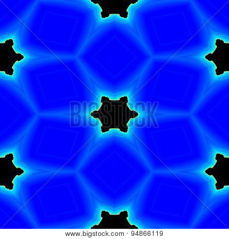 Seamless Abstract Fractal Black Stars Between The Blue Crystals