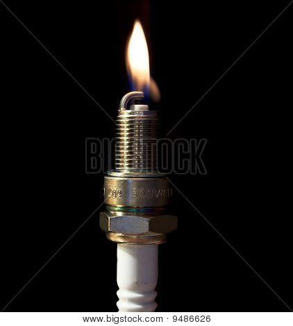 Spark plug and a flame