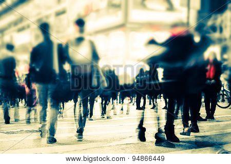 Blurred Image Of Night City Street. Hong Kong
