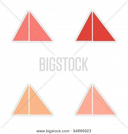 assembly realistic sticker design on paper pyramids Egypt