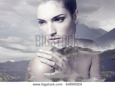 Double Exposure Of Young Adult Woman With Clean Fresh Skin