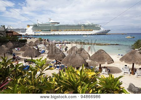 Luxury Cruise Ship And Tourists