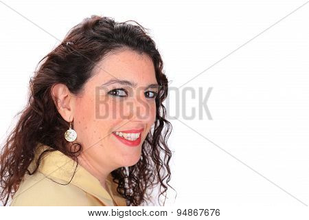 Side Profile Headshot Of A Spanish Woman With Dark Hair