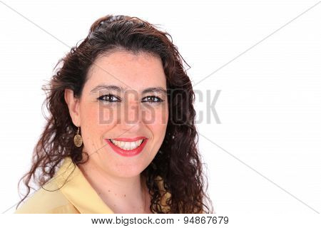 Face Forward Normal Headshot Of A Spanish Woman With Long Hair