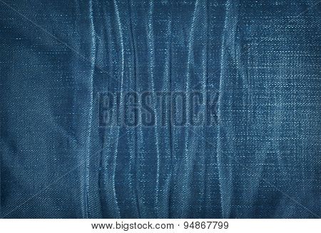 Texture Of Blue Jeans With Pleats
