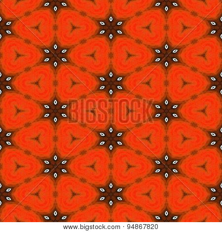 Seamless Abstract Orange Grunge Pattern With White Stars Or Flowers For Christmas Design
